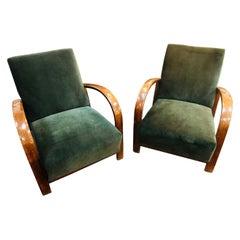 Pair of French Green Velvet Art Deco Chairs