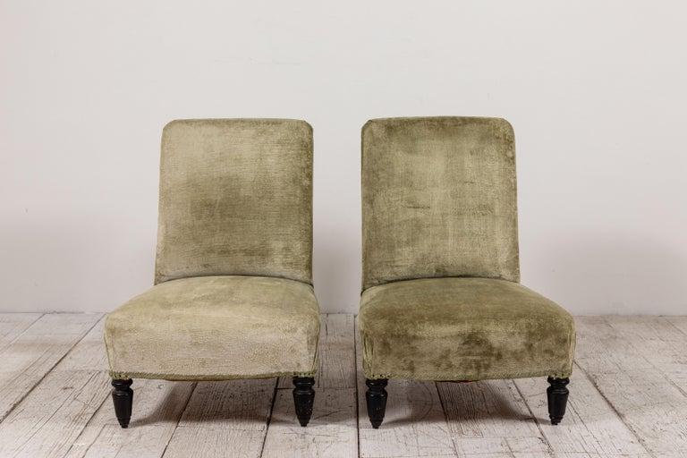 Art Deco Pair of French Green Velvet Slipper Chairs For Sale