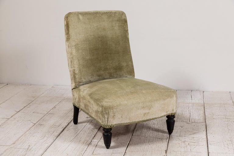 Pair of French Green Velvet Slipper Chairs For Sale 1