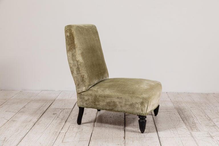 Pair of French Green Velvet Slipper Chairs For Sale 2