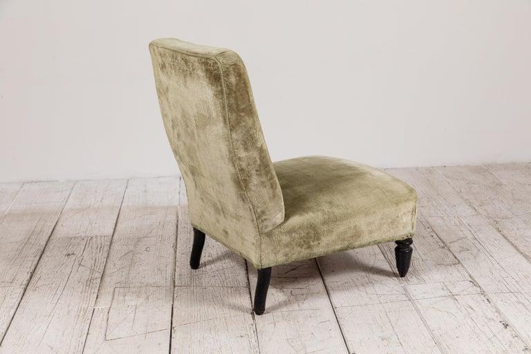 Pair of French Green Velvet Slipper Chairs For Sale 3
