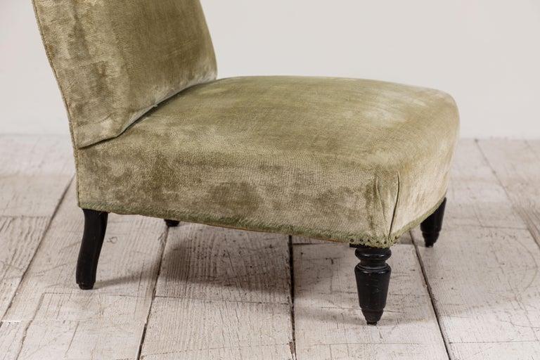 Pair of French Green Velvet Slipper Chairs For Sale 4