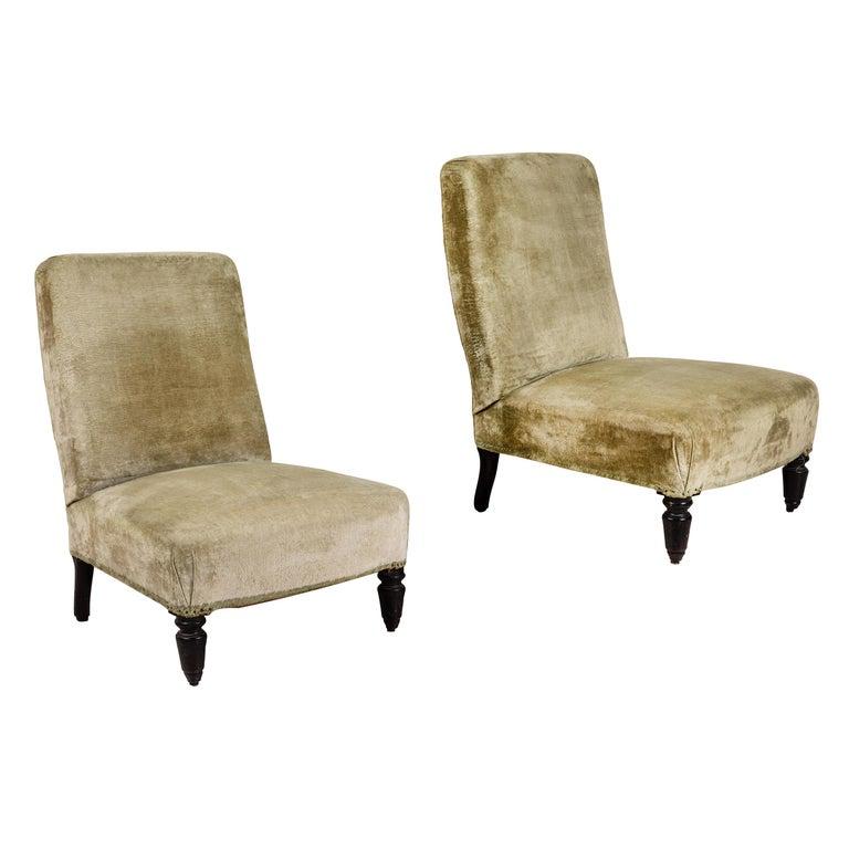 Pair of French Green Velvet Slipper Chairs For Sale