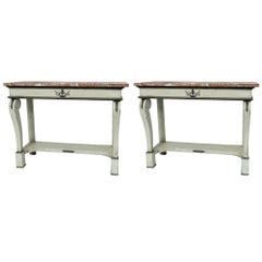 """Pair of French """"Green/Grey"""" Console Tables with Marble Tops"""