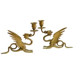Pair of French Griffin Candleholders in Bronze