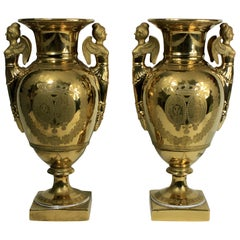 Pair of French Ground Gold Vases