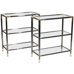 Pair of French Gunmetal and Brass Three-Tiered Shelves, 1970s