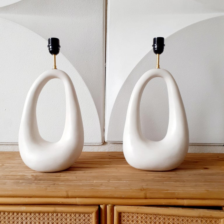 Pair of French Hand-Build Ceramic Lamps with Shade For Sale 1