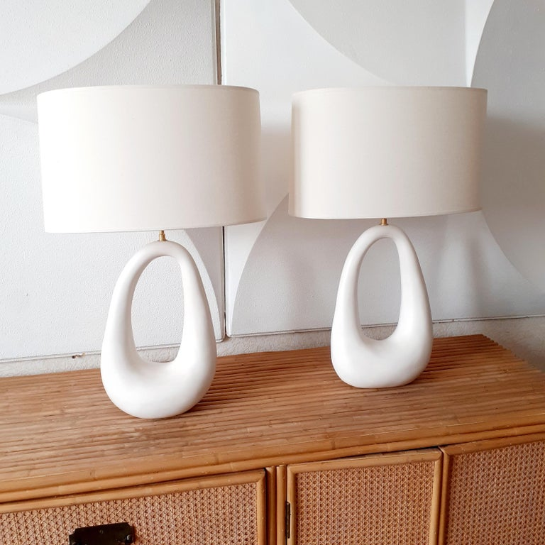 Pair of French Hand-Build Ceramic Lamps with Shade For Sale 3
