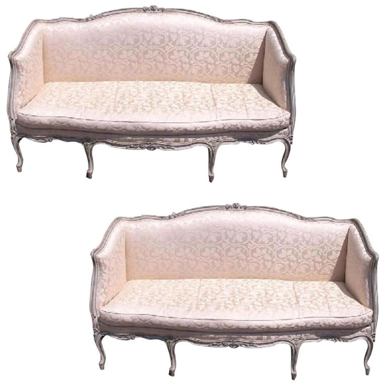 Pair of French Hand Carved & Painted Silk Sofas. Signed Carpentier. Circa 1780 For Sale