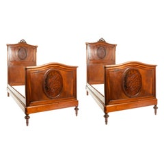 Pair of French Hand Carved Walnut / Burl Walnut Single Bed