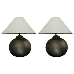 Pair of French Hand-Hammered Brass & Matte Nickel Table Lamps, Jean-Michel Frank