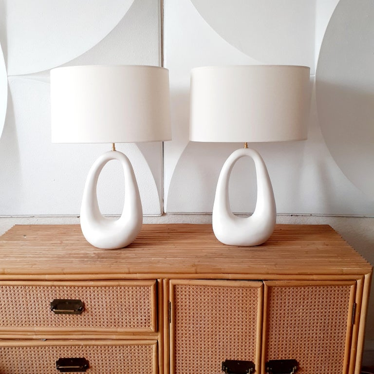 Pair of French Handmade Ceramic Lamps For Sale 2