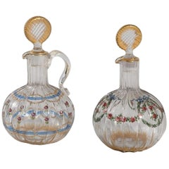 """Pair of French Hand Painted Glass Carafes """"DAMON and DELENTE"""""""