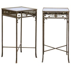 Pair of French Hand-Wrought Iron Side Tables with Floral Motifs, circa 1900