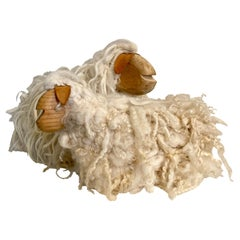 Pair of French Handcrafted Wood and Wool Decorative Sheep