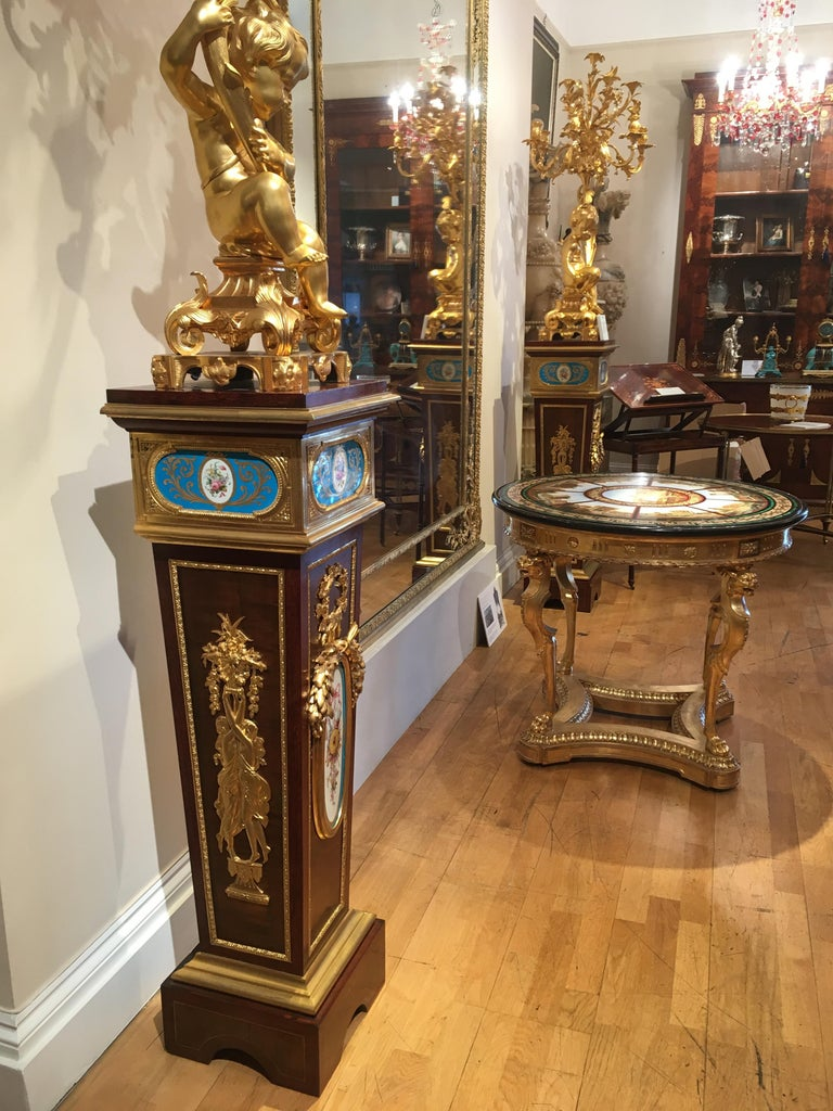 19th Century Pair of French Harewood, Ormolu and Blue and White Porcelain Pedestals For Sale