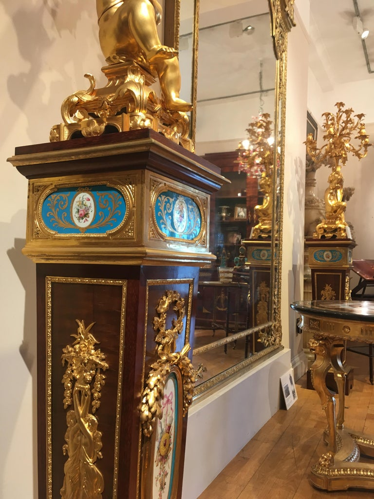 Pair of French Harewood, Ormolu and Blue and White Porcelain Pedestals For Sale 1