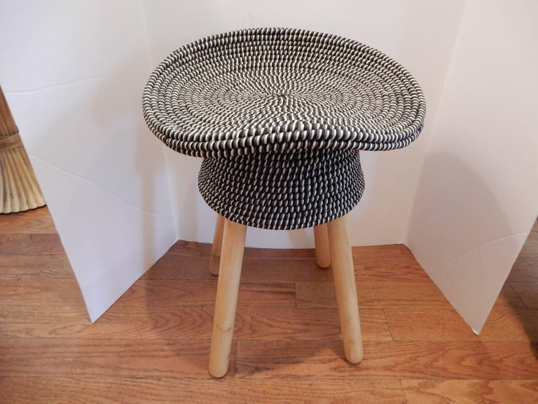 Pair of French hat stools, blue and white corded or woven nylon(strong) washable. Four available.