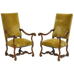Pair of French High Back Armchairs, 19th Century