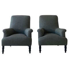 Pair of French High Back Club Chairs