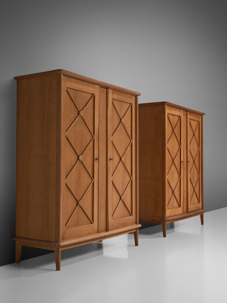 Mid-Century Modern Pair of French High Boards in Oak For Sale