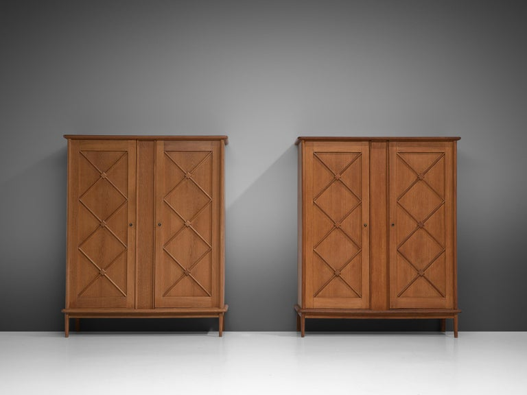 Pair of French High Boards in Oak In Good Condition For Sale In Waalwijk, NL