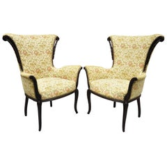 Pair of French Hollywood Regency Carved Mahogany Fireside Lounge Armchairs