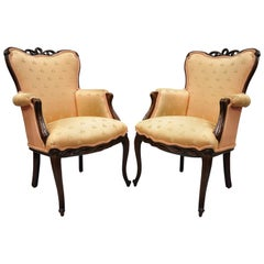 Pair of French Hollywood Regency Victorian Upholstered Fireside Lounge Armchairs