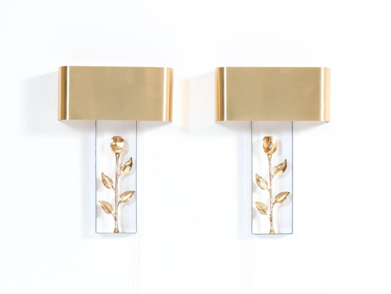 Pair of French Hollywood Regency Wall Lights or Sconces by Maison Charles, 1970s For Sale 5