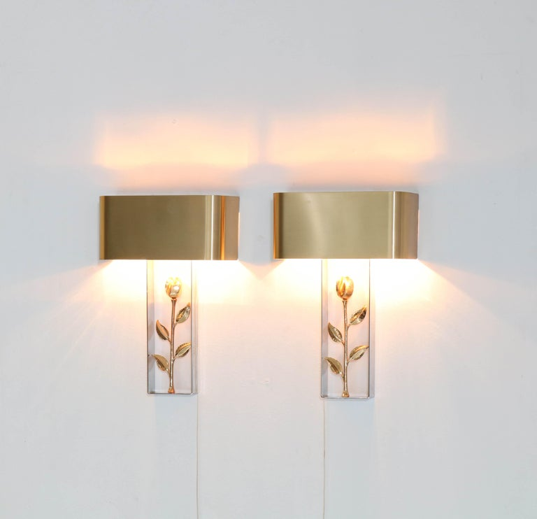 Lacquered Pair of French Hollywood Regency Wall Lights or Sconces by Maison Charles, 1970s For Sale