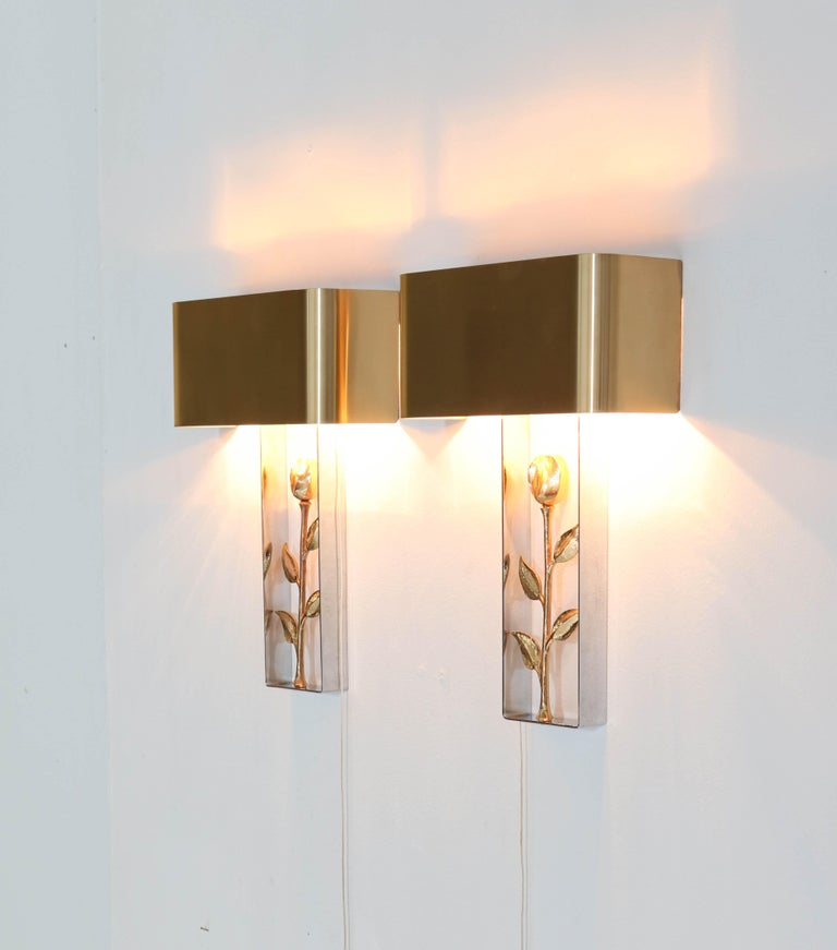 Pair of French Hollywood Regency Wall Lights or Sconces by Maison Charles, 1970s In Good Condition For Sale In Amsterdam, NL