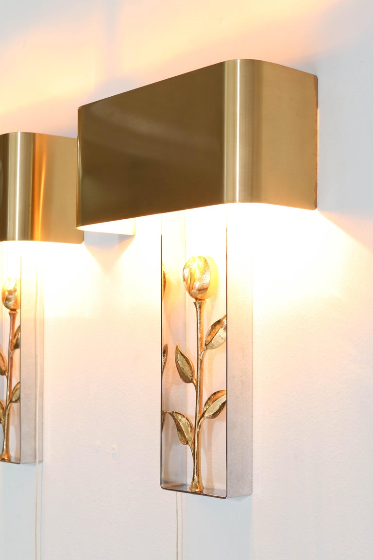 Late 20th Century Pair of French Hollywood Regency Wall Lights or Sconces by Maison Charles, 1970s For Sale