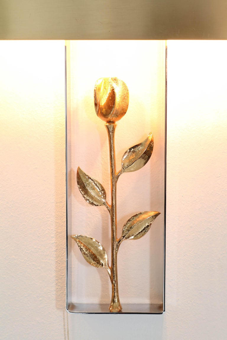 Metal Pair of French Hollywood Regency Wall Lights or Sconces by Maison Charles, 1970s For Sale