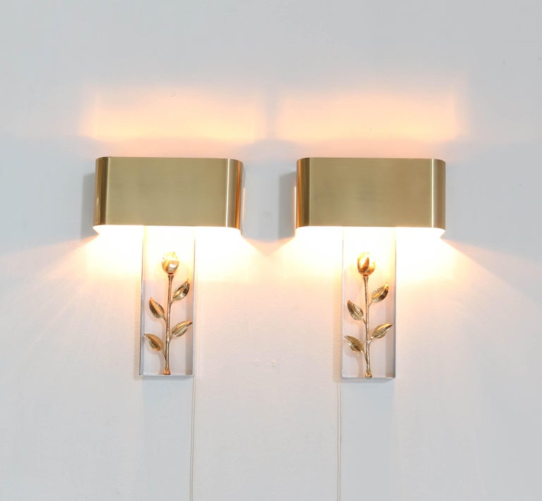 Pair of French Hollywood Regency Wall Lights or Sconces by Maison Charles, 1970s For Sale 1