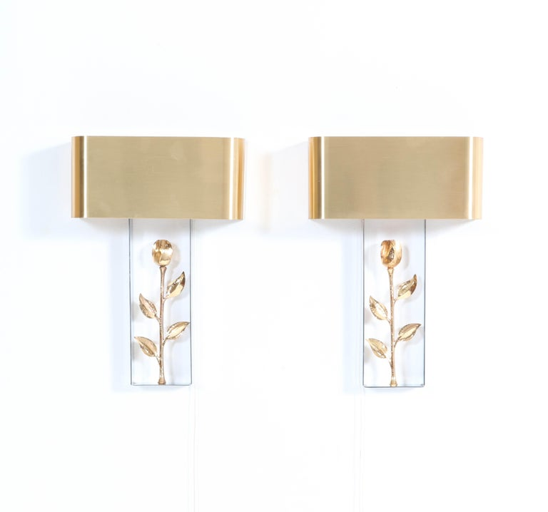 Pair of French Hollywood Regency Wall Lights or Sconces by Maison Charles, 1970s For Sale 2