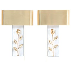 Pair of French Hollywood Regency Wall Lights or Sconces by Maison Charles, 1970s