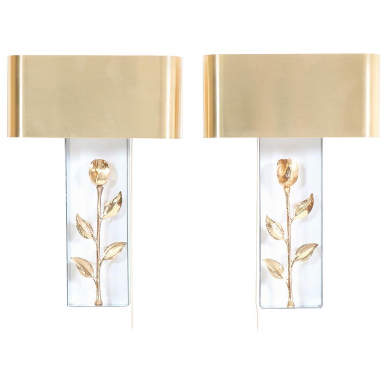 Pair of French Hollywood Regency Wall Lights or Sconces by Maison Charles, 1970s For Sale