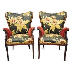 Pair of French Hollywood Regency Wingback Grosfeld House Style Lounge Armchairs
