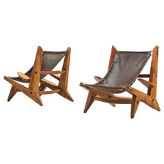 Pair of French Hunting Chairs in Pine and Leather