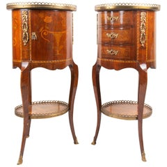 Pair of French Inlaid Side Cabinets, Louis XVI Style, circa 1900