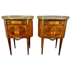 Pair of French Inlaid Tables with Marble Tops