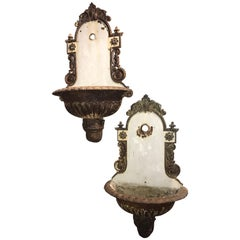 Pair of French Iron and Porcelain Enameled Lavabos with Scrolled Decoration