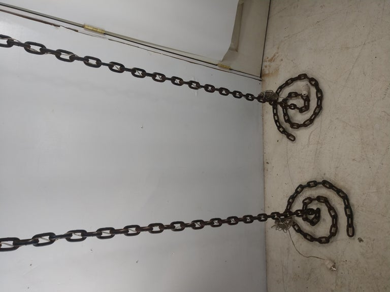 Pair of Brutalist French Iron Chain Rope Floor Lamps Midcentury In Good Condition For Sale In Port Jervis, NY
