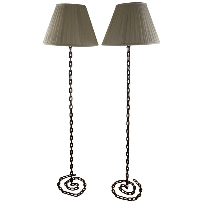 Pair of Brutalist French Iron Chain Rope Floor Lamps Midcentury For Sale