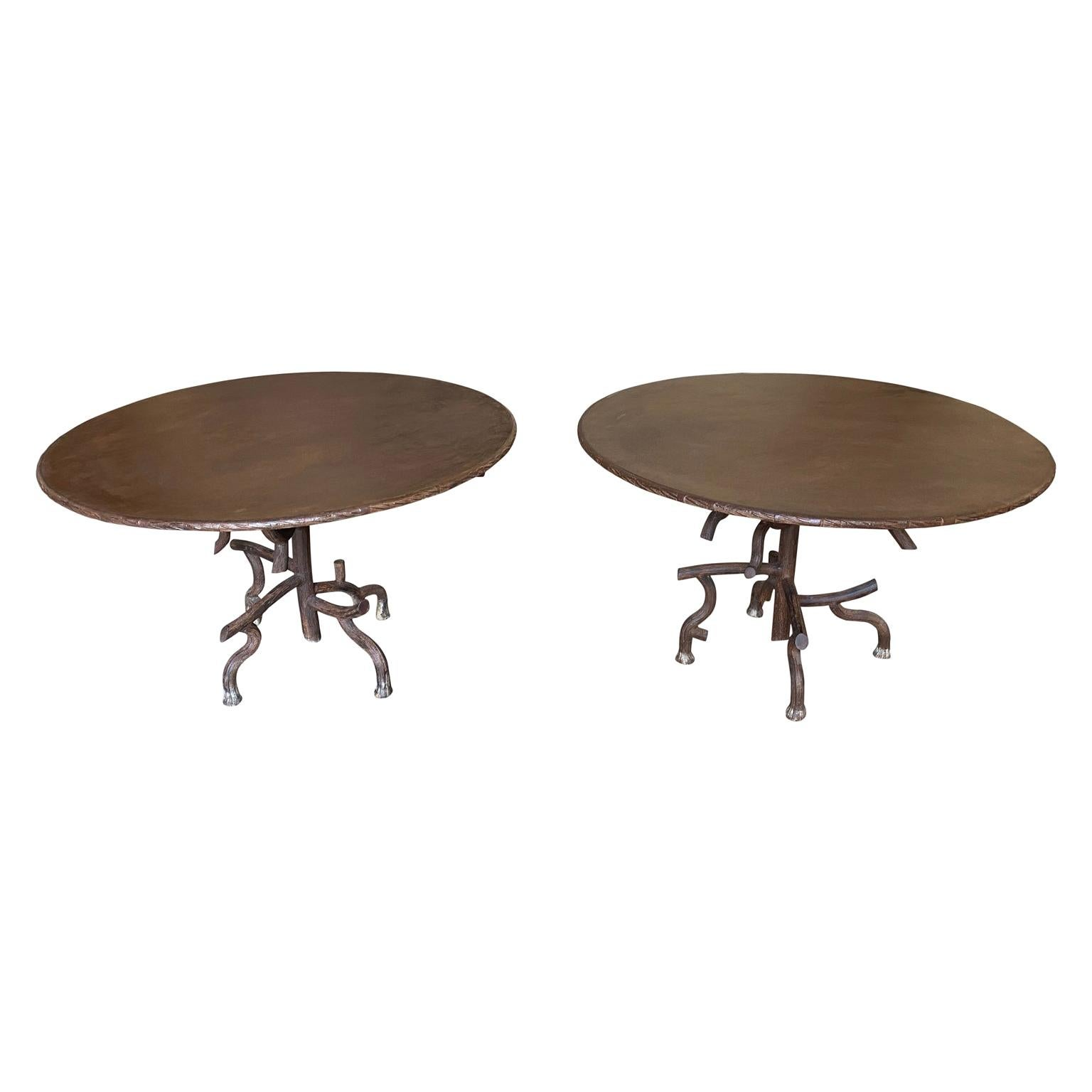 Pair of French Iron Faux Bois Garden Dining Tables