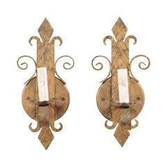 Pair of French Iron Fleur-de-Lys Sconces in Gold Tones