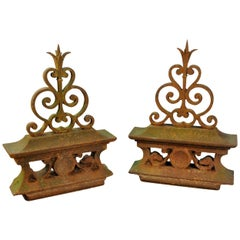 Pair of French Iron Fragments, Finials