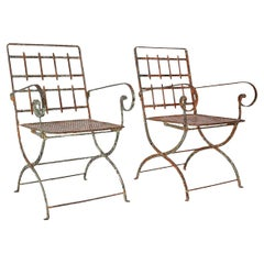 Pair of French Iron Garden Chairs