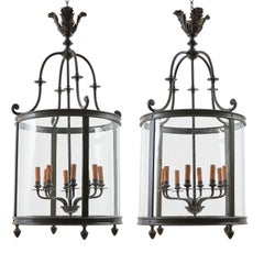 Pair of French Iron Lanterns with an Eight-Light Fitment, circa 1930